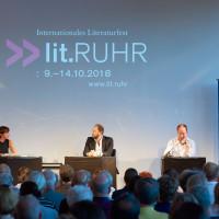 lit.RUHR 2018: Sabine Scholt, Olivier Guez und Ulrich Noethen © Palazzo
